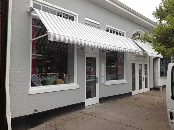 Striped Retractable Shop Awning