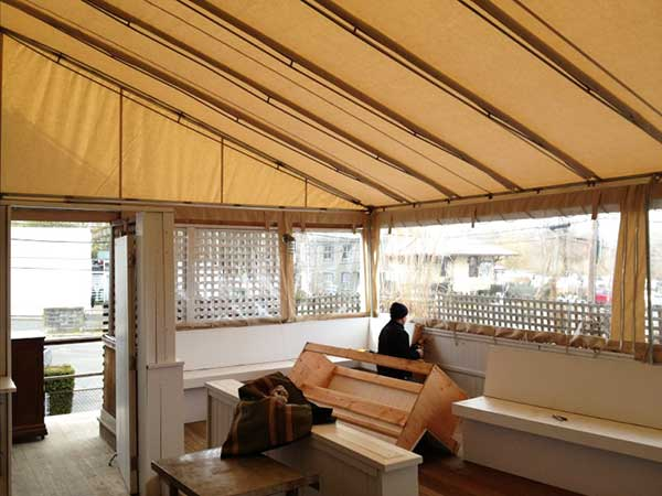 brown fixed frame awnings